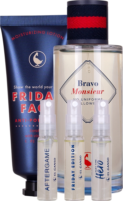 Set Bravo Monsieur 125ml + Loción Facial 75ml + Viales