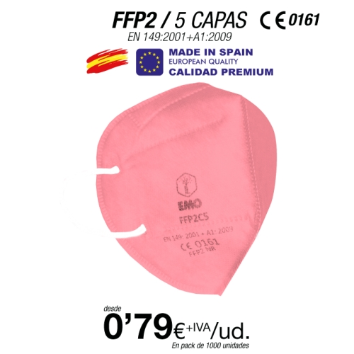 FFP2 Color Rosa Made in Spain Calidad Premium con certificación europea