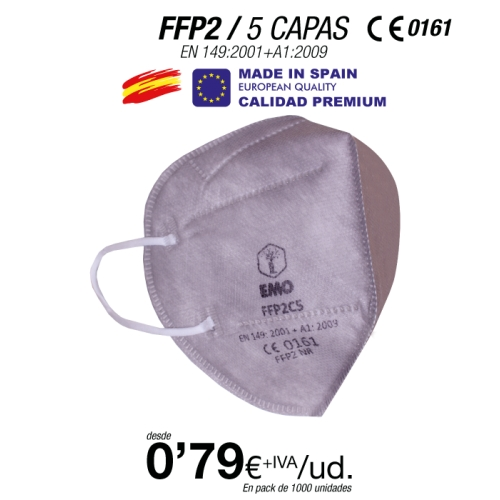 Mascarillas FFP2 Gris Made in Spain Calidad Premium con certificado