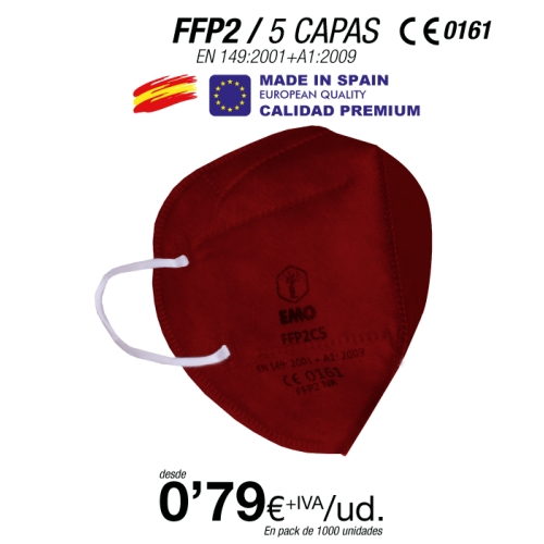 Mascarillas FFP2 Burdeos Made in Spain Calidad Premium con certificado